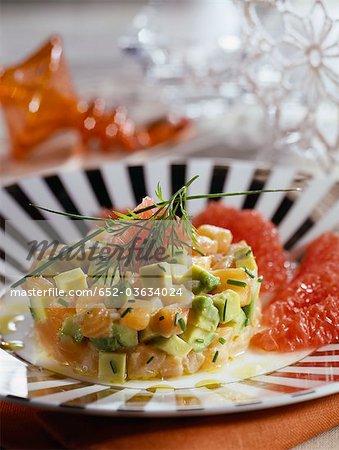 Salmon tartare with avocado and grapefruit