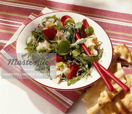 Salade tiède de morue