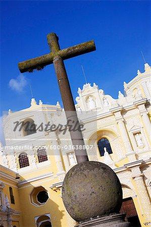 Stone Cross and Iglesia La Merced, Antigua, Sacatepequez Department, Guatemala