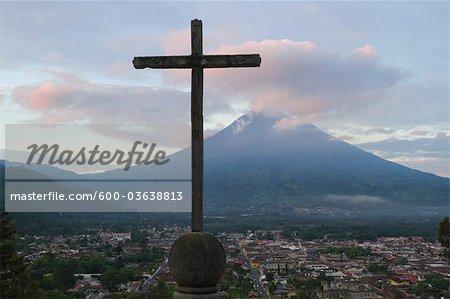 Cross and Volcan de Agua View From Cerro de la Cruz, Antigua, Sacatepequez Department, Guatemala