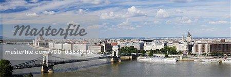 Chain Bridge and the River Danube, Budapest, Hungary