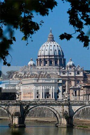 Saint Peter's Basilica and Ponte Sant'Angelo, Rome, Vatican City, Lazio, Italy