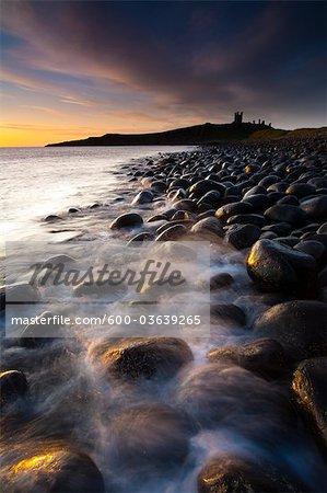 Embleton Bay, Dunstanburgh Castle in the Distance, Northumberland, England