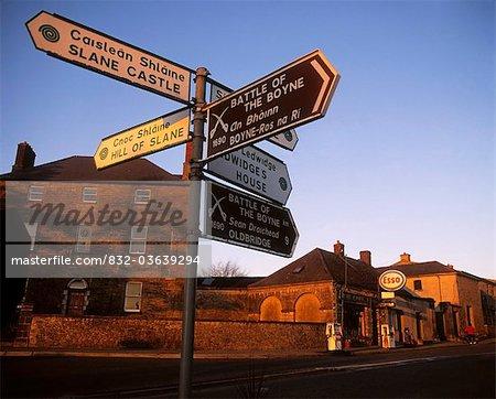 Slane, Co Meath, Ireland; Signpost