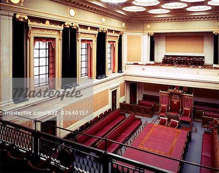 Belfast, Co Antrim, Irlande du Nord, Sénat Chambre dans le bâtiment du Parlement (Stormont)