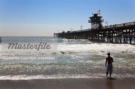 Pêche à la plage de San Clemente, Orange County, Californie, Etats-Unis