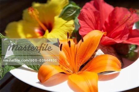 Blumenschmuck auf Platte