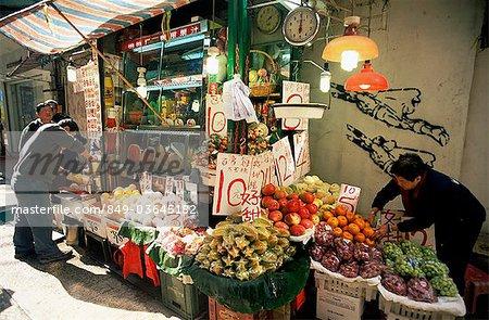 Chine, Hong Kong, typique Streetside Fresh Fruit jus Stall