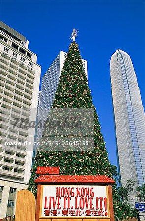 Chine, Hong Kong, arbre de Noël et Statue Square