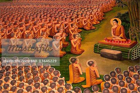 Thailand,Chiang Mai,Lamphun,Wat Haripunchai,Wall Mural depicting Life of Buddha