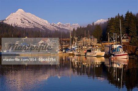 Scenic view of Auke Bay and the Coast Range near Juneau, Inside Passage, Southeast Alaska, Winter