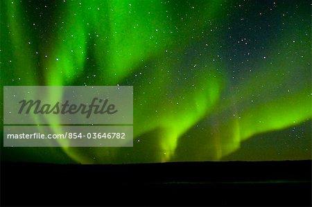 Mehrere grüne Archs von Aurora Borealis tanzen über den Noatak Fluss im Herbst Noatak National Preserve, Arktische Alaska,