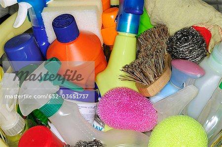 Produits de nettoyage, gros plan