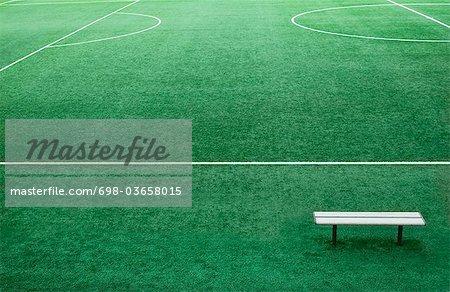 Bench on football ground