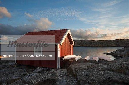 Boot-Hütte bei Sonnenaufgang, Bohuslän, Schweden