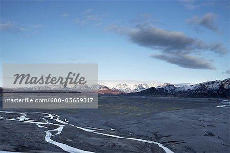 Overview of Myrdalsjokull Glacier and Katla Volcano, South Iceland, Iceland