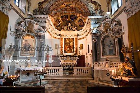 Church Interior, Monterosso al Mare, Cinque Terre, Province of La Spezia, Ligurian Coast, Italy