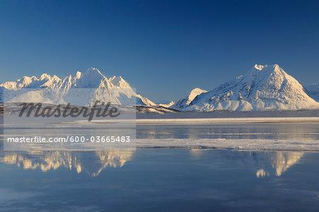 Winter Scene Norway, Lyngen Alps, Breivikeidet, Troms, Norway