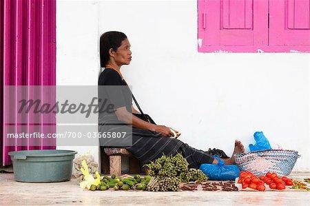 Vendor Selling Produce at Waikabubak Market, Sumba, Indonesia