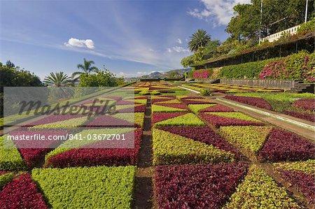 Jardins à la française dans les jardins botaniques (Jardim Botanico), au-dessus de Funchal, Madeira, Portugal, Europe