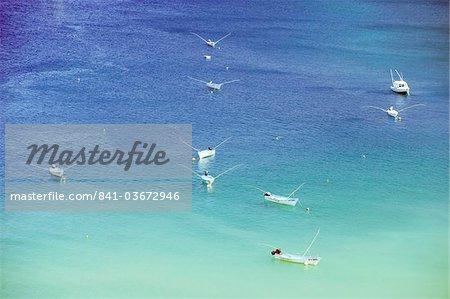 Boats in Man of War Bay, Charlotteville, Tobago, Trinidad and Tobago, West Indies, Caribbean, Central America