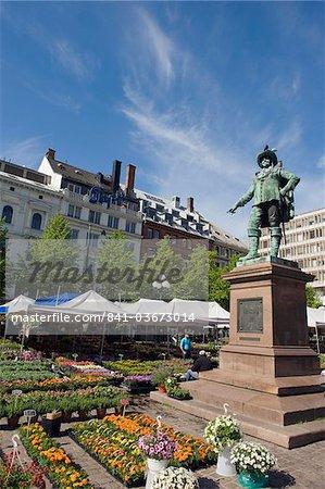 Marché aux fleurs et la statue de Christian IV, Oslo (Norvège), Scandinavie, Europe