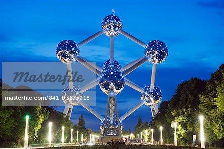 1958 World Fair, Atomium model of an iron molecule, illuminated at night, Brussels, Belgium, Europe