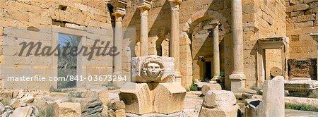 Gorgon Kopf, Severischen Forum, Leptis Magna, UNESCO Weltkulturerbe, Tripolitanien, Libyen, Nordafrika, Afrika