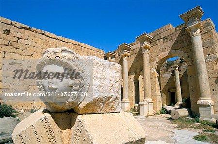 Gorgon head, Severan Forum, Leptis Magna, UNESCO World Heritage Site, Tripolitania, Libya, North Africa, Africa