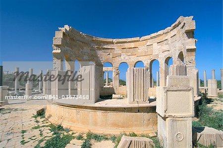 Market, Leptis Magna, UNESCO World Heritage Site, Tripolitania, Libya, North Africa, Africa