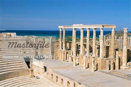 Théâtre, Leptis Magna, Site du patrimoine mondial de l'UNESCO, la Tripolitaine, la Libye, en Afrique du Nord, Afrique