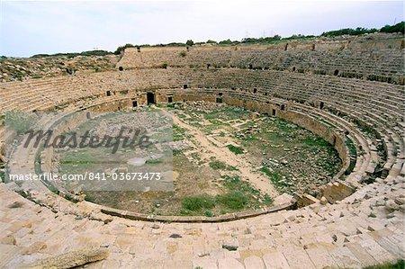 Amphitheatre, Leptis Magna, UNESCO World Heritage Site, Tripolitania, Libya, North Africa, Africa