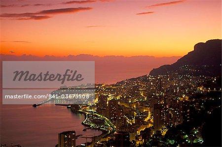 Monte Carlo at sunset, Monaco, Cote d'Azur, Mediterranean, Europe