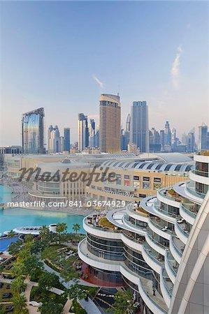 Dubai skyline, elevated view over the Dubai Mall and Burj Khalifa Park, Dubai, United Arab Emirates, Middle East