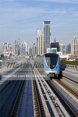 Skyline and Dubai Metro, Modern Elevated Metro system, opened in 2010, Dubai, United Arab Emirates, Middle East