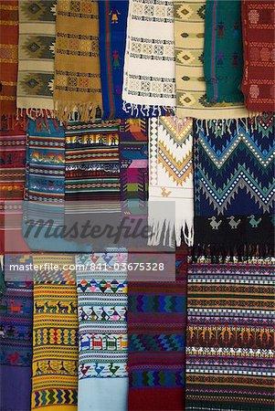 Handmade fabrics for sale in the market, Panajachel, Lake Atitlan, Guatemala, Central America