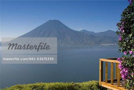 Lake Atitlan from Lomas de Tzununa Hotel with San Pedro Volcano in the background, Guatemala, Central America