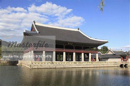 Pavillon Sud, Palais Gyeongbokgung (Palais du bonheur qui brille), Séoul, Corée du Sud, Asie
