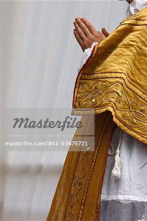 Priest attending a traditionalist Catholic pilgrimage, Villepreux, Yvelines, France, Europe