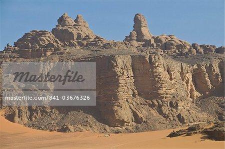 Belle vue des montagnes Rocheuses dans le Tassili n'Ajjer, patrimoine mondial de l'UNESCO, Algérie, Afrique du Nord, Afrique