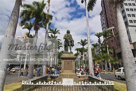 Mahé de la Bourdonnais statue, Port Louis, Ile Maurice, l'océan Indien, Afrique
