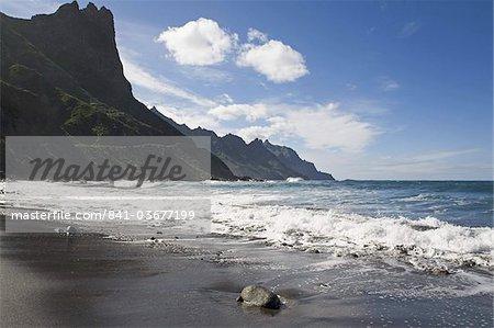 Atlantic Ocean waves crash onto black volcanic sand at Taganana, Tenerife, Canary Islands, Spain, Atlantic, Europe