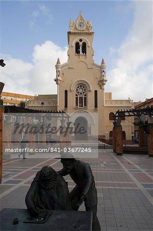 Monument to Miguel de Cervantes and modernist Sagrado Corazon church, Melilla, Spain, Spanish North Africa, Africa