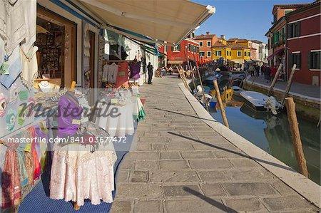 Lace for sale, Burano, Venice, Veneto, Italy, Europe