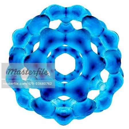 Fullerenen Molekül. Molekulares Modell eines Moleküls Fulleren, strukturell Form (Allotroph) des CO2. Es hat 60 Kohlenstoffatome in sphärische Struktur, bestehend aus sechseckigen und pentagonal Ringe Vernetzung angeordnet.