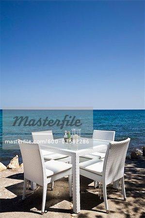 Table de restaurant sur la plage, Majorque, Espagne
