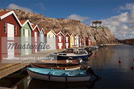 Zeile der Häuser, Smögen, Bohuslän, Vastra Gotaland County, Gotaland, Schweden