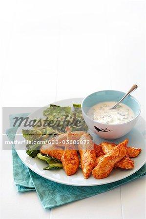 Doigts de poulet, vinaigrette au fromage bleu