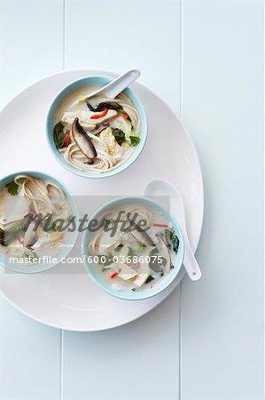 Asiatische Kokos-Suppe mit Huhn