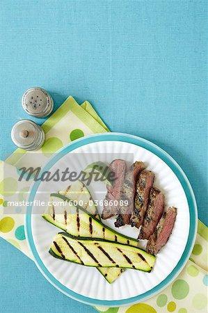 Steak à la chaux et courgettes grillées